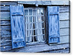Blue Shutters Acrylic Print by Bonnie Fink