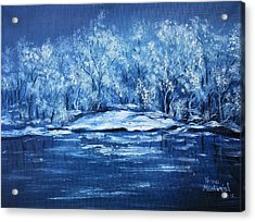 Acrylic Print featuring the painting Blue Silence by Vesna Martinjak