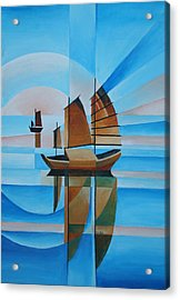 Acrylic Print featuring the painting Blue Skies And Cerulean Seas by Tracey Harrington-Simpson