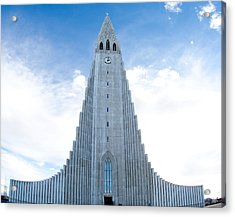 Blue Skies Over Hallgrimskirkja Acrylic Print
