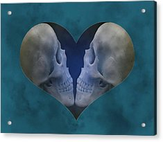 Blue Skull Love Acrylic Print by Diana Shively