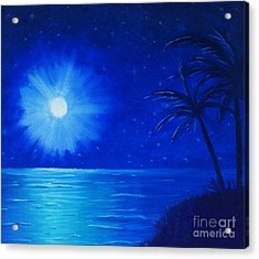 Acrylic Print featuring the painting Blue Sky At Night by Arlene Sundby