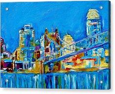 Blue Sky Cincinnati Acrylic Print by Kat Griffin