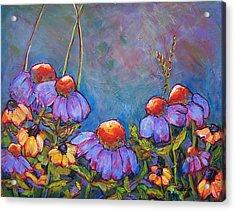 Blue Sky Flowers Acrylic Print by Blenda Studio