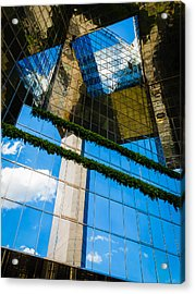 Acrylic Print featuring the photograph Blue Sky Reflections On A London Skyscraper by Peta Thames