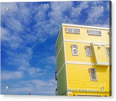 Blue Sky Yellow House Acrylic Print