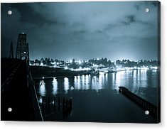 Blue Skys And City Lights Acrylic Print by Sheldon Blackwell