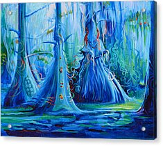 Blue Spirit Trees Acrylic Print by Janet Oh