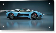 Blue Sports Car In A Wind Tunnel Acrylic Print by Mevans