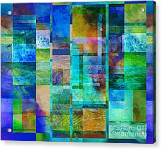 Blue Squares Abstract Art Acrylic Print by Ann Powell