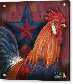 Blue Star Rooster Acrylic Print