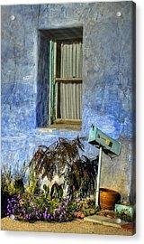 Blue Stucco Window Acrylic Print by Ken Smith