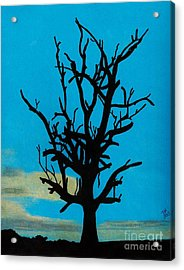 Acrylic Print featuring the drawing Blue Sunset by D Hackett