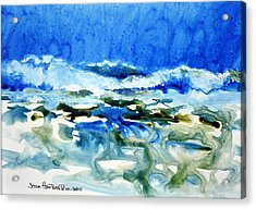 Blue Surf Acrylic Print by Joan Hartenstein