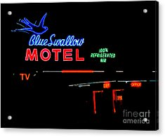 Blue Swallow Motel Neon Sign Acrylic Print by Catherine Sherman