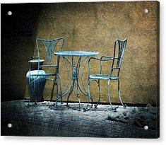 Acrylic Print featuring the photograph Blue Table And Chairs by Lucinda Walter