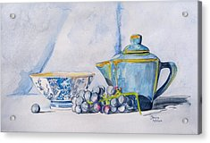 Acrylic Print featuring the painting Blue Teapot  by Janina  Suuronen