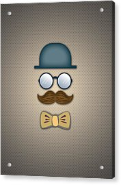 Blue Top Hat Moustache Glasses And Bow Tie Acrylic Print by Ym Chin