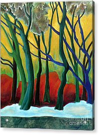 Acrylic Print featuring the painting Blue Tree 1 by Elizabeth Fontaine-Barr