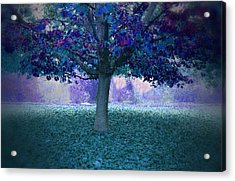 Blue Tree Monet Painting Background Acrylic Print