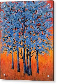 Acrylic Print featuring the painting Blue Trees On A Hot Day by Suzanne Theis