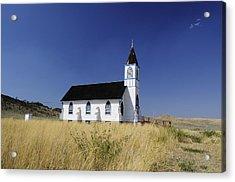 Acrylic Print featuring the photograph Blue Trim Church by Fran Riley