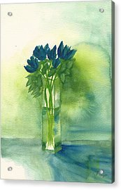 Blue Tulips In Glass Vase Acrylic Print by Frank Bright