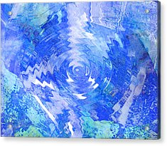 Blue Twirl Abstract Acrylic Print by Ann Powell