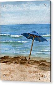Blue Umbrella Acrylic Print by Nancy Patterson