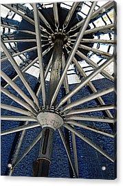 Blue Umbrella Underpinnings Acrylic Print by Kathy Barney