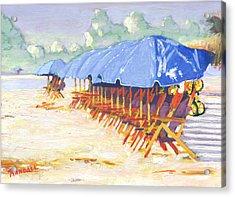 Blue Umbrellas Acrylic Print by David Randall