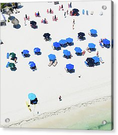 Blue Umbrellas On A Sunny Beach Acrylic Print by Tommy Clarke