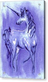 Blue Unicorn Acrylic Print by Carol Rowland