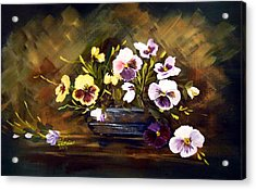 Blue Vase With Pansies Acrylic Print by Dorothy Maier