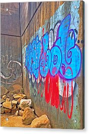 Blue Wall Acrylic Print by Andrew Martin