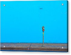 Acrylic Print featuring the photograph Blue Wall Parking by Darryl Dalton