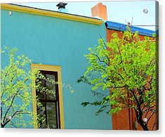 Acrylic Print featuring the photograph Blue Wall Yellow Window by Brenda Pressnall