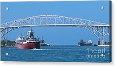 Blue Water Bridge And Freighters Acrylic Print