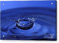 Blue Water Splash Acrylic Print by Anthony Sacco