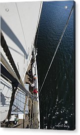 Blue Water - White Sail Acrylic Print by Robert Lacy