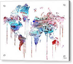 Blue Watercolor Map Acrylic Print by Luke and Slavi