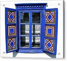 Blue Window Handmade Acrylic Print by Daliana Pacuraru