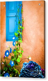 Blue Window - Painted Acrylic Print by Bob and Nancy Kendrick