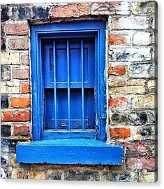 #blue #window #safety #bars #brick #red Acrylic Print