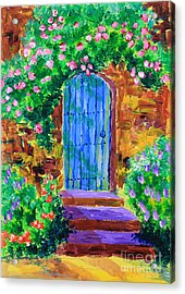 Blue Wooden Door To Secret Rose Garden Acrylic Print