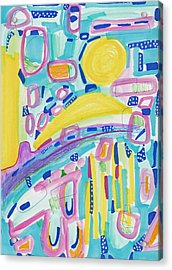 Blue Yellow And Pink Acrylic Print