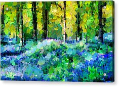 Bluebells In The Forest - Abstract Acrylic Print