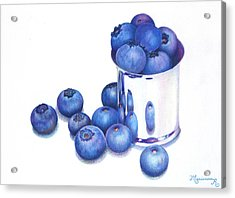 Blueberries And Silver Acrylic Print