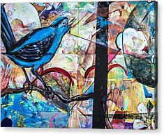 Acrylic Print featuring the mixed media Bluebird Signs by Terry Rowe