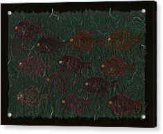 Bluegills On Charcoal Unryu Paper Acrylic Print